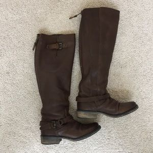 Steve Madden brown leather riding boot, size 6